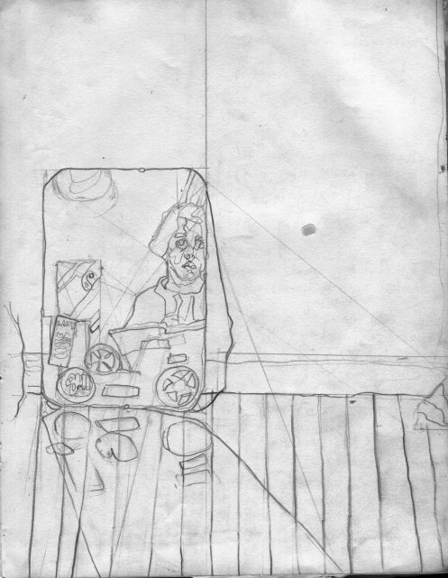 """That Room in the Yellow House, pencil on paper, 8"""" x 11"""""""