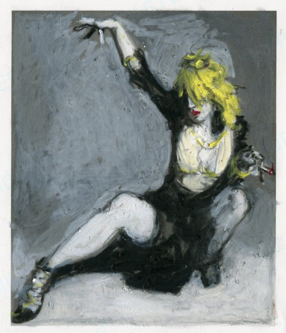 Punk Rock Icon, Courtney Love, mixed media on paper